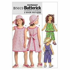 Butterick 5019 Toddlers Girls Top Dress Trousers Pants Hat Sewing Pattern B5019
