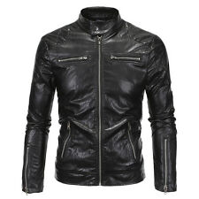 New Men's Slim Fit PU Leather Motorcycle Overcoat PU Leather Coat Jackets Collar