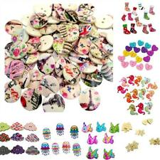 50/100Pcs Bulk Stylish Heart Floral Wooden Sewing Buttons Scrapbooking 2 Holes