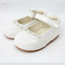 BABY TODDLER GIRLS SPARKLY WHITE PATENT PARTY WEDDING WALKING DRESS SHOES UK 2-6