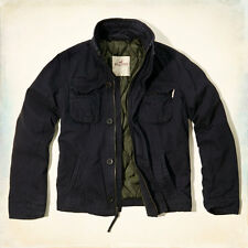 NWT Hollister by Abercrombie Rockpile Quilted Jacket Twill Coat Navy S/M/L/XL