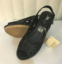 Spring Step Breezy Black/Beige/White Slingback Wedge Leather Sandals Size 5-10