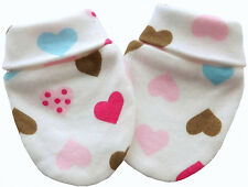 100% Organic Cotton Baby Mittens Gloves Handmade Multi-Color Hearts Unisex