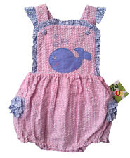 Petit Ami Girls Sunsuit Pink and Blue Gingham Seersucker Whale NWT 6 months