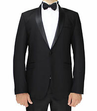 Black Semi Slim Fit Dinner Suit With Satin Shawl Lapel