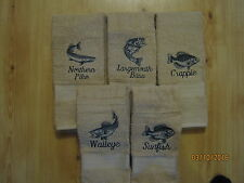 New Fish Themed Hand Towels, Walleye, Crappie, Sunfish, Bass, Northern Pike