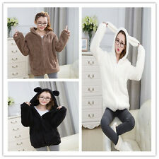 Lady Girl Warm lovely Teddy Bear Ear Coat Plush Hoodie Jacket Outerwear One Size