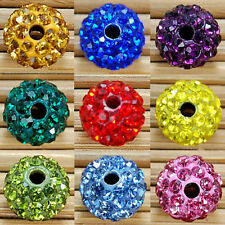 Crystal Rhinestones Paved Disco Ball Loose Spacer Beads 8mm,10mm 20Colors Choose