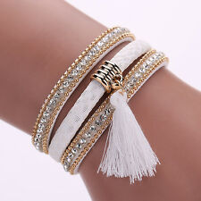 Women Punk Multilayer Lint Tassels Rhinestone Bangle Cuff Bracelet Fantastic