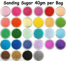 SANDING SUGAR SPRINKLES CUPCAKE CAKE EDIBLE DECORATIONS 40gms *CHOICE OF COLOURS