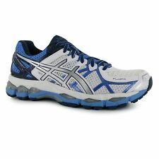 Asics Gel Kayano Running Shoes Womens White/Blue Run Fitness Trainers Sneakers