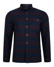 French Connection New Men's Long Sleeve Pop Flannel Cotton Stripe Shirt Regular