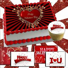 Valentine's Day edible Cake or Cupcake toppers picture transfer sugar heart love