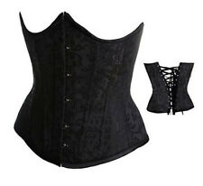 Sexy Waist Underbust Boned Lace up Corset Brocade Bustier 2Colors Plus Size 9427