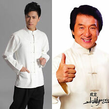 Traditional Chinese style Jackie Chan White Kung Fu Suit Tai Chi Shirt Costume