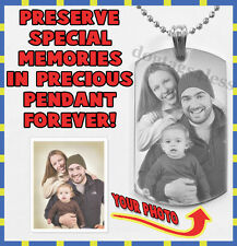 Personalized Photo & Text Engraving Dogtags Pendant Necklace - Free Engraving