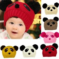 Cute Baby Girl Boy Toddler Winter Warm Knit Crochet Panda Hat Cap Beanie MDWK
