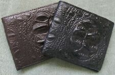Men's Crocodile Alligator Pattern Brown Black GENUINE Cow LEATHER Bi-fold Wallet