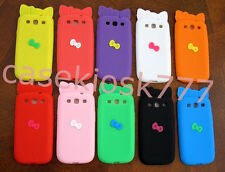 for samsung i9300 galaxy S3  sIII cute kitten kitty 3D bow/ case pink black red