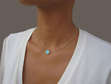 Turquoise Clover Necklace Gold, Four Leaf Clover Necklace, Lucky Shamrock Charm