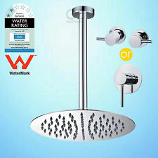 """WELS Round 10"""" Thin Rainfall Shower Head 300mm Ceiling Arm Mixer/Tap Dropper Set"""