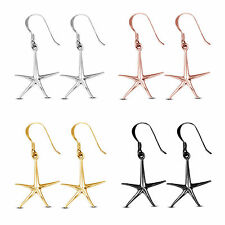 White/ Yellow/ Rose/ Black Gold Plated 925 Sterling Silver Star Dangle Earrings