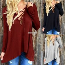Fashion Women Casual Loose V-Neck Cotton Blend Shirt Tops Blouse T-shirt EFFU