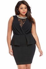 Ladies Plus Size XXXL Lace Detail Peplum Dress Womens Formal Bodycon Party Dress
