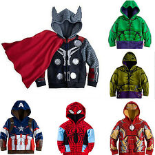 Kids Boys Zipper Cosplay Costume Superhero Coat Hooded Jacket Hoodie Jumper Tops
