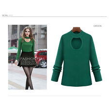 Womens Sexy Casual Long Sleeve Knit knitwear Sweaters Jumpers Tops Blouse Plus
