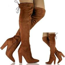 NEW WOMENS LADIES THIGH OVER THE KNEE HIGH HEEL PLATFORM STRETCH BOOTS SHOES SIZ