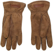 """BURBERRY TAN SHEARLING LEATHER """"LUCA"""" GLOVES- MADE IN ITALY"""