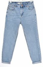 Topshop MOM High Waisted Vintage Blue Slim Tapered CROP Jeans Size 12 W30 L32