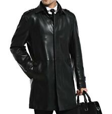 Mens faux Leather Long Business Casual Trench Coats Jackets M-4XL moto parka
