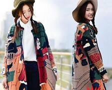 Women's Round Collars Sweaters Loose Mixed Colors Baseball Outerwear Coats Size