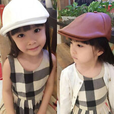 Toddler Kids Boy Girl  Leather Beret Cap Vintage Peaked Hat Newsboy Hat 3 to 8 T