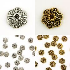 60Pcs Tibetan Silver/Gold Tone Floral Flower Beads Caps Findings Jewelry Craft