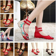 Plus Size Old Beijing Mary Jane Flats Chinese Embroidered Women Cloth shoes