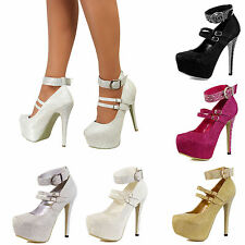 Womens Platform High Heels Glitter Diamante Ankle Strap Buckle Pumps Shoes Size