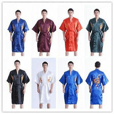 Men's Silk Japanese Chinese Kimono Dressing Gown Bath Robe Nightwear Sleepwear