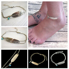 Silver Plated Chain Anklet Bracelet Barefoot Beach Sandal Women Foot Jewelry