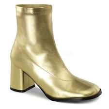 """Sexy 3"""" High Heel Gogo Dancer Gold Ankle Boots Halloween Costume Shoes"""