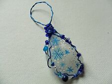 Blue white Snowflakes - Hand painted crafted sea glass Christmas tree decoration