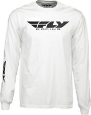 Fly Racing Casual White/Black Mens Corporate Long Sleeve T-Shirt 2017