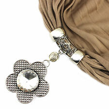 New Fashion Flower Pendant Scarf DIY Jewelry Costume Necklace Scarf with Tassels