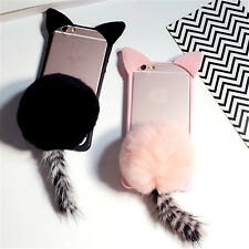 3D Fur Bal cute  Cat tail Silicon soft Back Case Cover for iphone 6 6s Plus