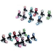 12PCS Baby Girl lady Crystal Flower Mini Hair Claw Clamp Hair Clip Hair Pin NEW