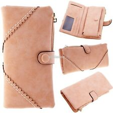 Womens Synthetic Leather Button Long Purse Clutch Wallet Handbag Wristlet Holder