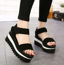 Fashion Black Creeper Platform Open toe sandals Women Shoes Wedges heels shoes