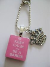 Keep Calm and Be a Barbie crystal crown keyring/bag charm, ring or necklace